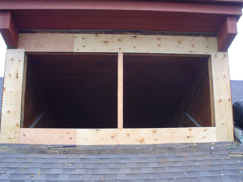 The dormer completely resheeted, it's almost ready for windows.