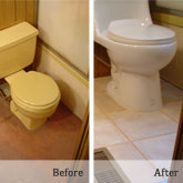 Before and after, low-budget bathroom remodel